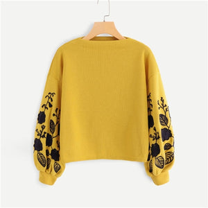 5e9ad42a41 SHEIN Ginger Preppy Elegant Floral Embroidered Cowl Neck Bishop Sleeve  Sweatshirt 2018 Autumn Casual Women Pullovers ...