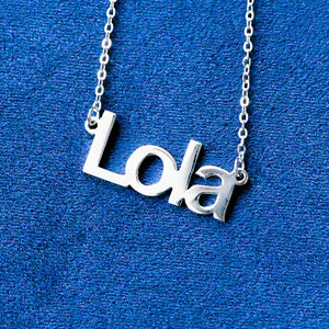 Custom All Capitals Silver Name Necklace