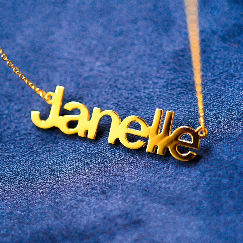 Custom All Capitals Yellow Gold Name Necklace