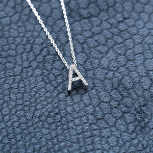 Mini Diamond Letter Pendant & Necklace