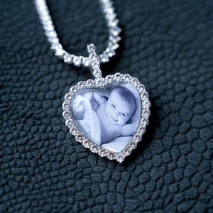 Custom 3D Bubble Heart Picture Necklace
