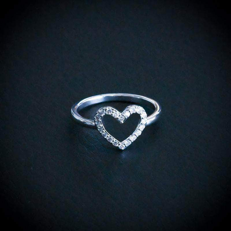 Open Heart Promise Ring in White Gold