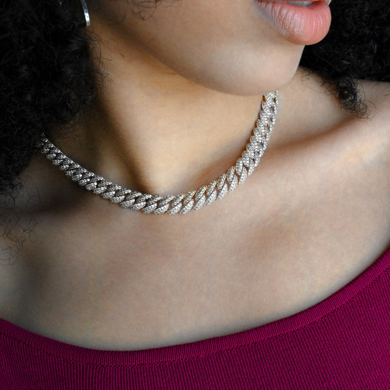Womens Cuban Link Chain (10mm) in White Gold