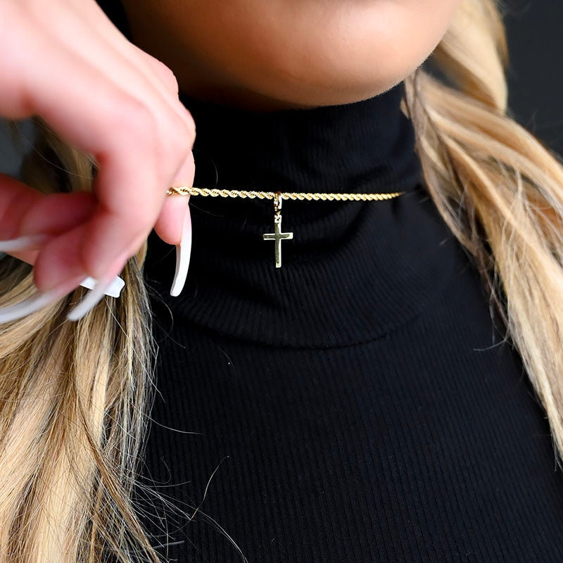 Mini Gold Cross Necklace