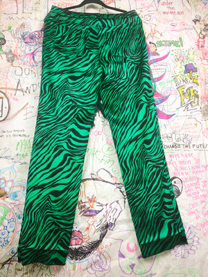 Luca Luca Silk Green Tiger Stripe Pants