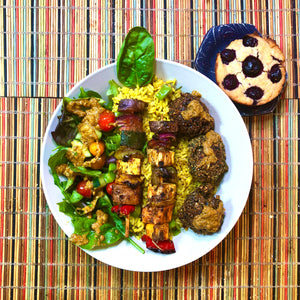 Grilled Veggie Kebabs and Falafels