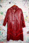 Vintage Leather Maroon Trench Coat