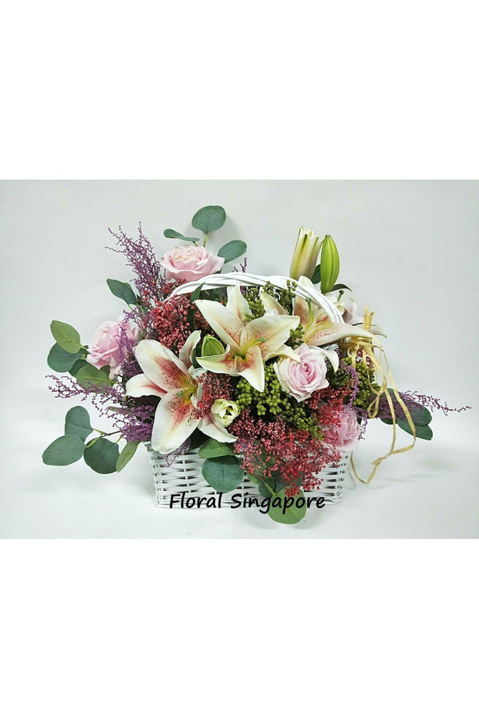 FB 01 - Blooming Love Flower Basket - Floral Singapore