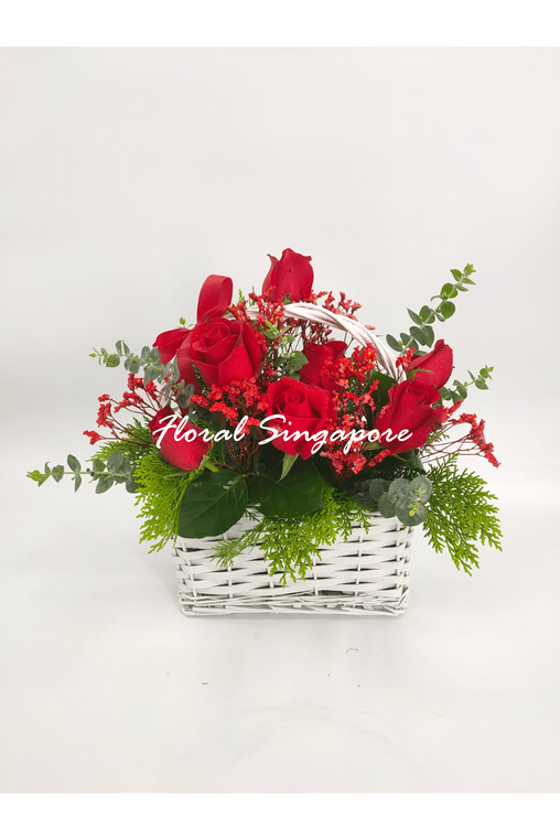 FB 09 - Red Roses Flower Basket