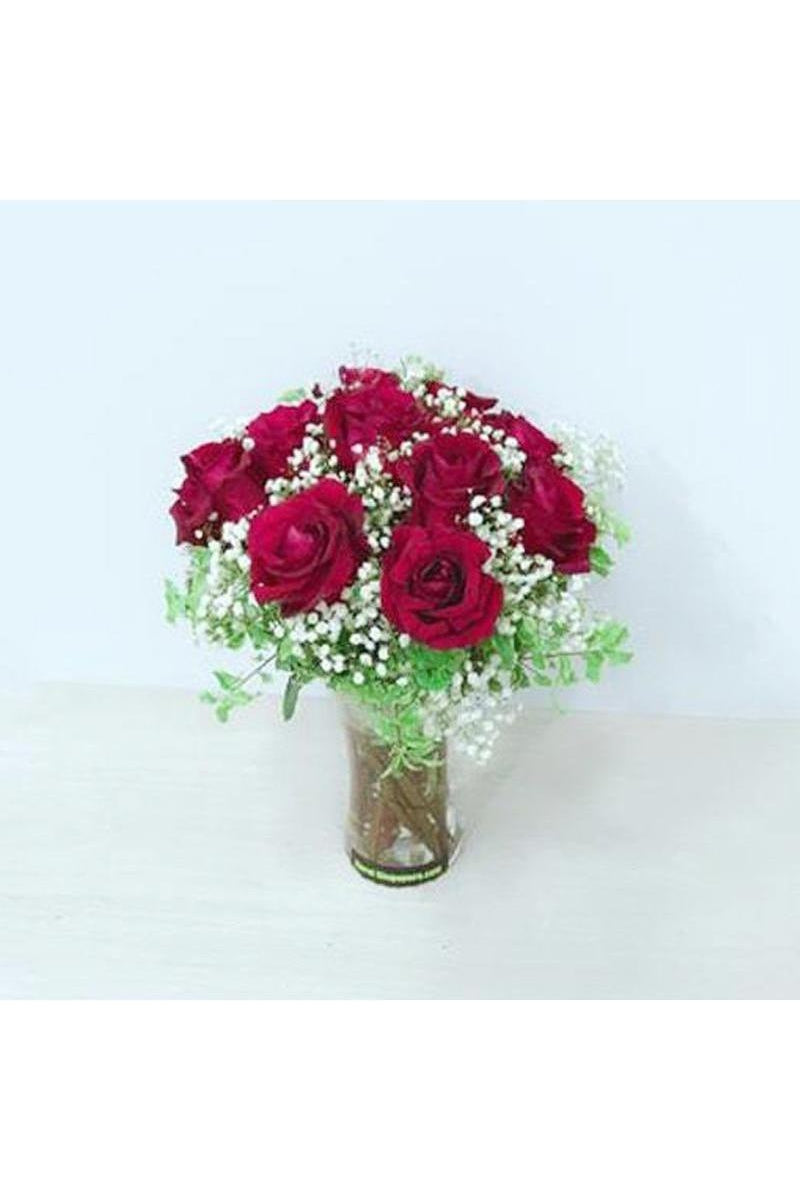 FIV 10 - Red Roses in Vase - Floral Singapore