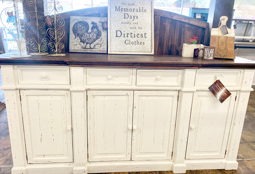 Parklin Distressed White Large Buffet