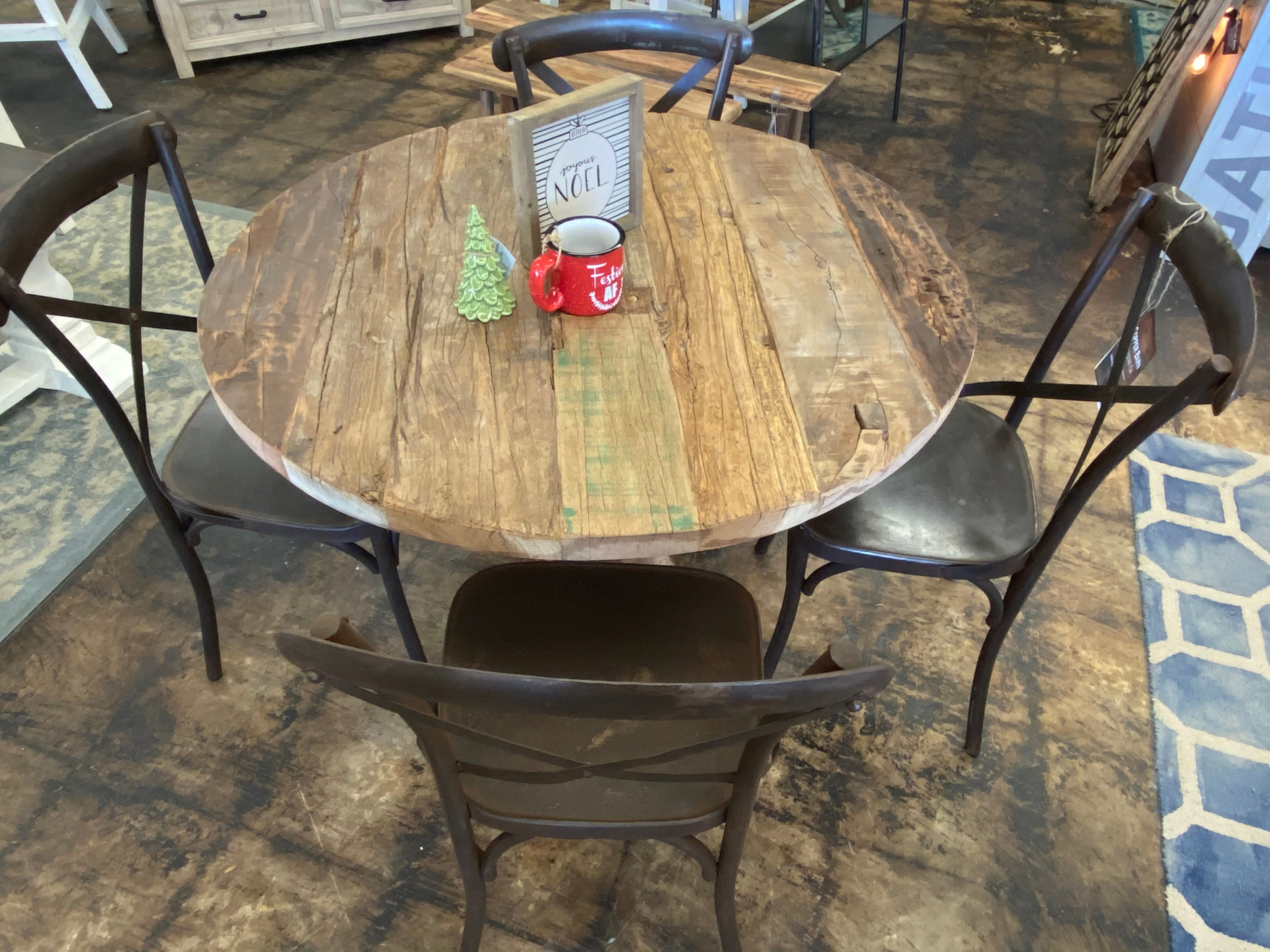 Easton Reclaimed & Iron 5 piece dining table set