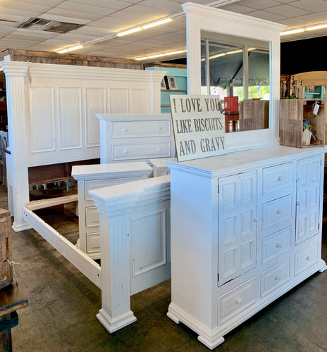 Kelsey Distressed White King Bedroom Set