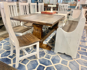 Banks 8 foot Antique White Dining Table Set