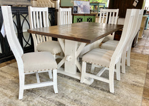 Hart White & Linen Farmhouse Dining Table Set