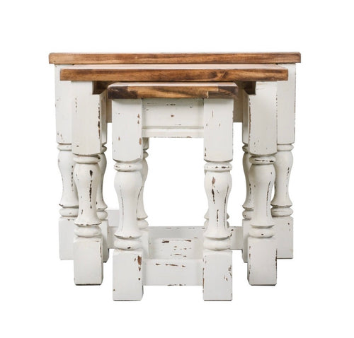 Spindle White Nesting Tables