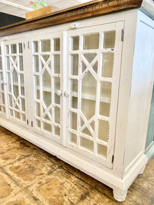 Livingston Distressed White Large Cabinet