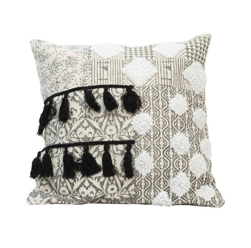 Hand Woven Black Tassel Pillow