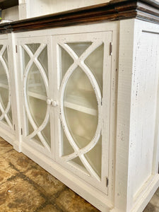 Cameo Distressed White 2 Piece Hutch