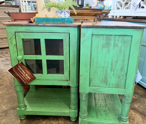 Faith Antique Green Accent Cabinet