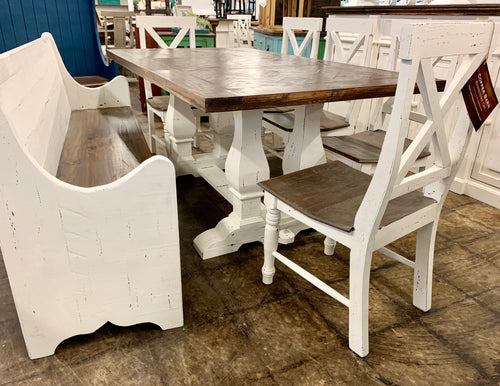 Herringbone White 7 piece Dining Table Set