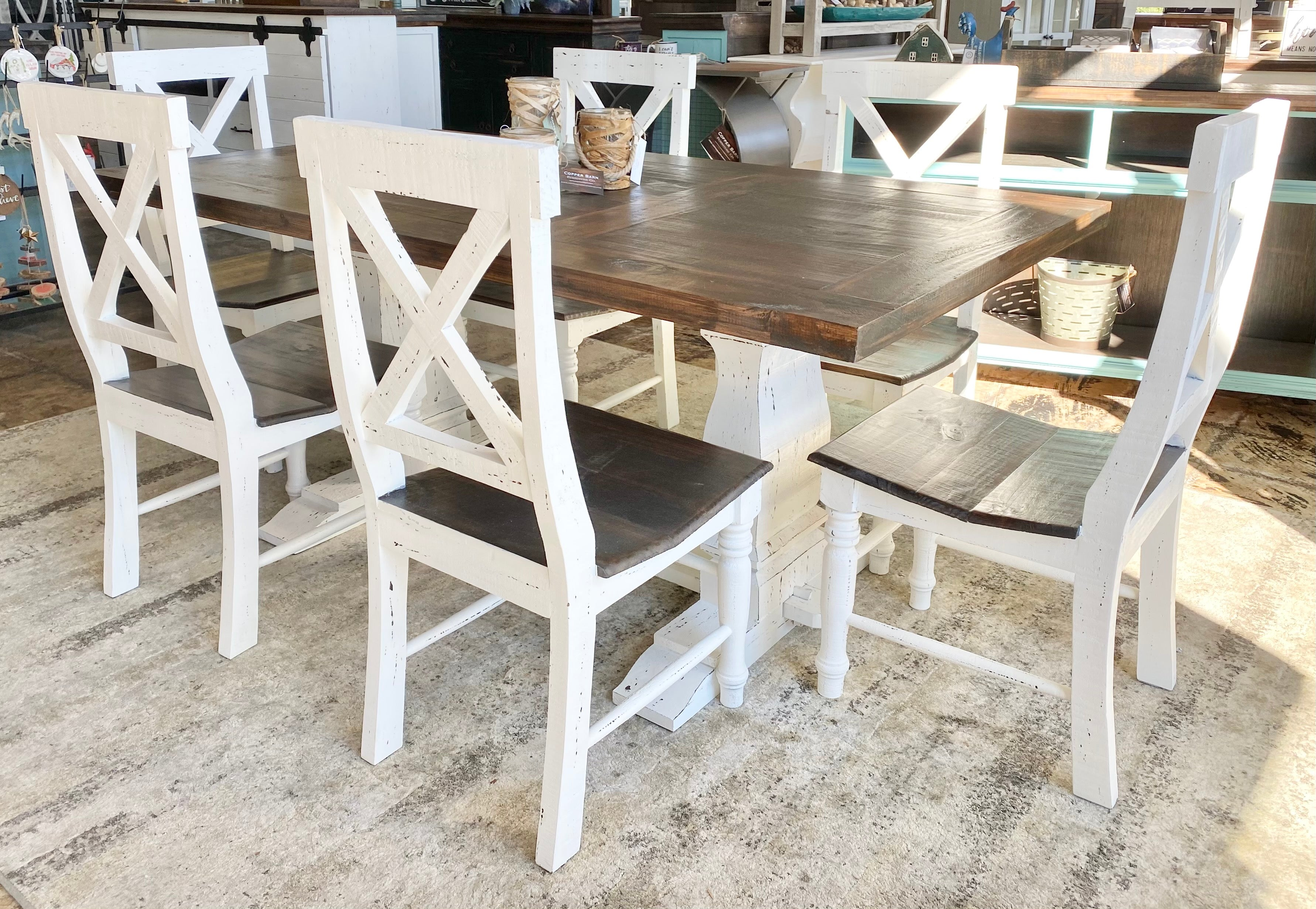 Aaron White 7 piece Farmhouse Dining Table Set