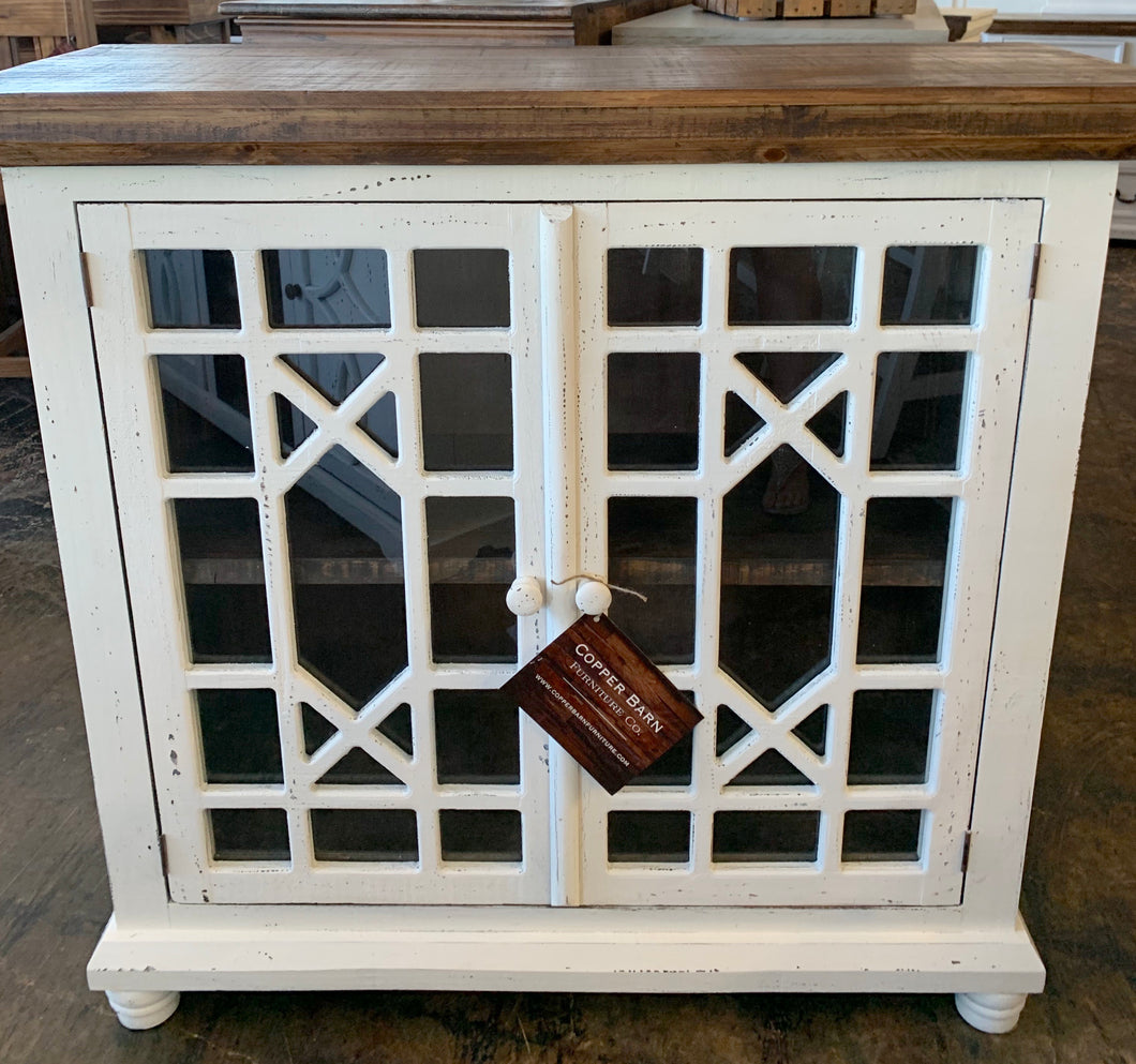Livingston Distressed White Small Cabinet