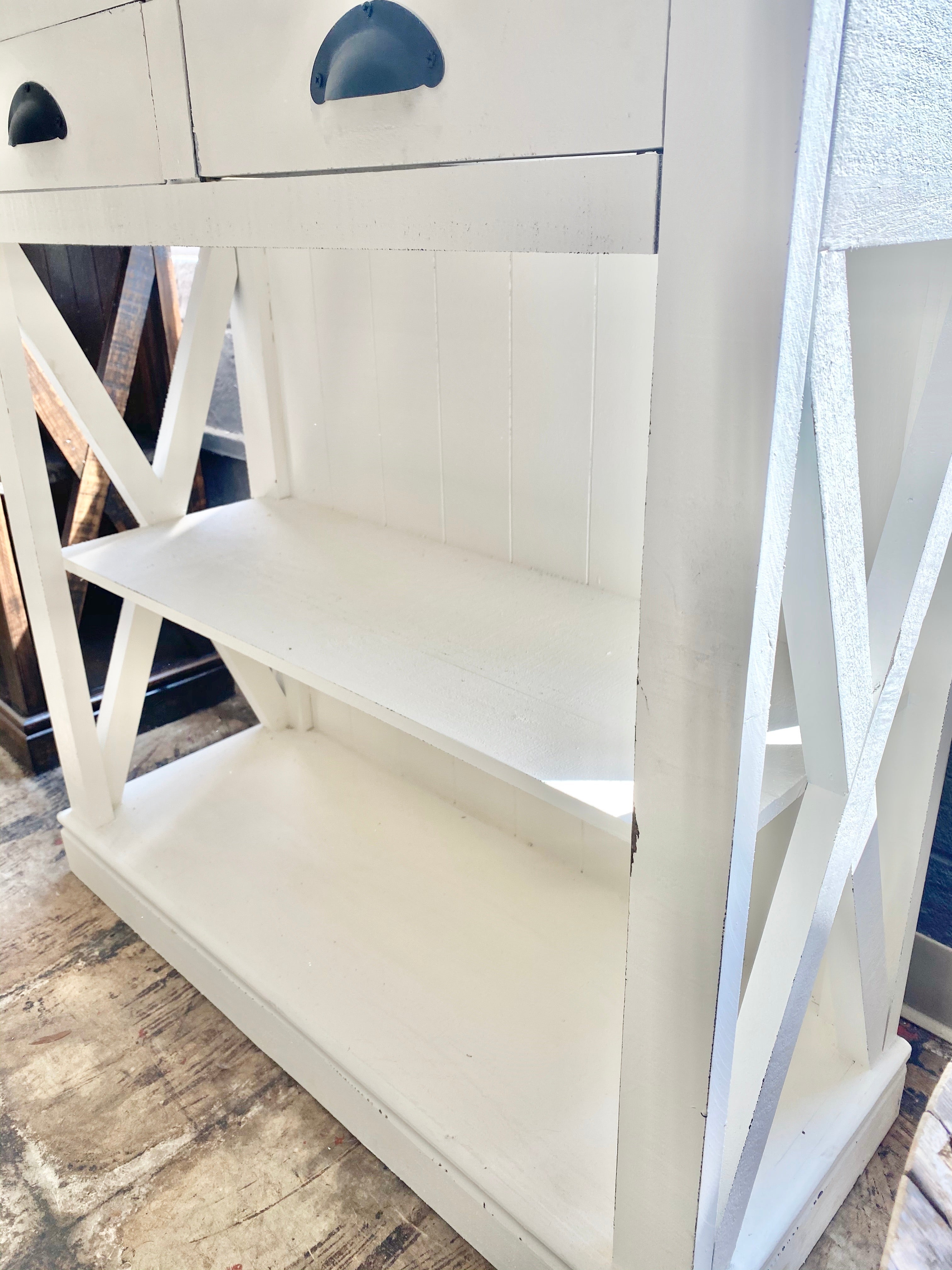 Whitney White & Weathered Bookshelf