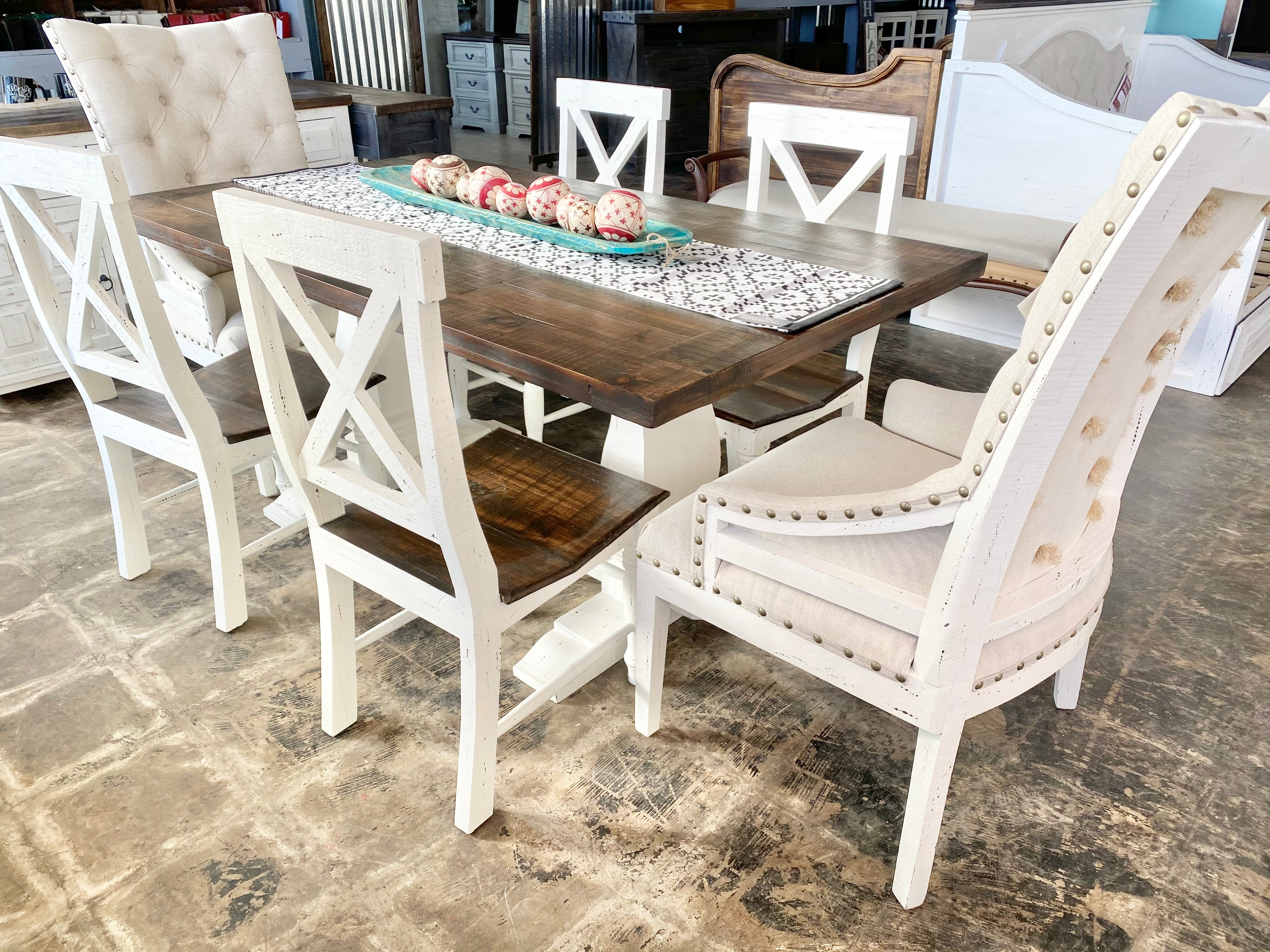 Aaron White 7 piece Deconstructed Dining Table Set