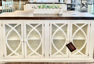 Cameo Distressed White Glass Front Cabinet