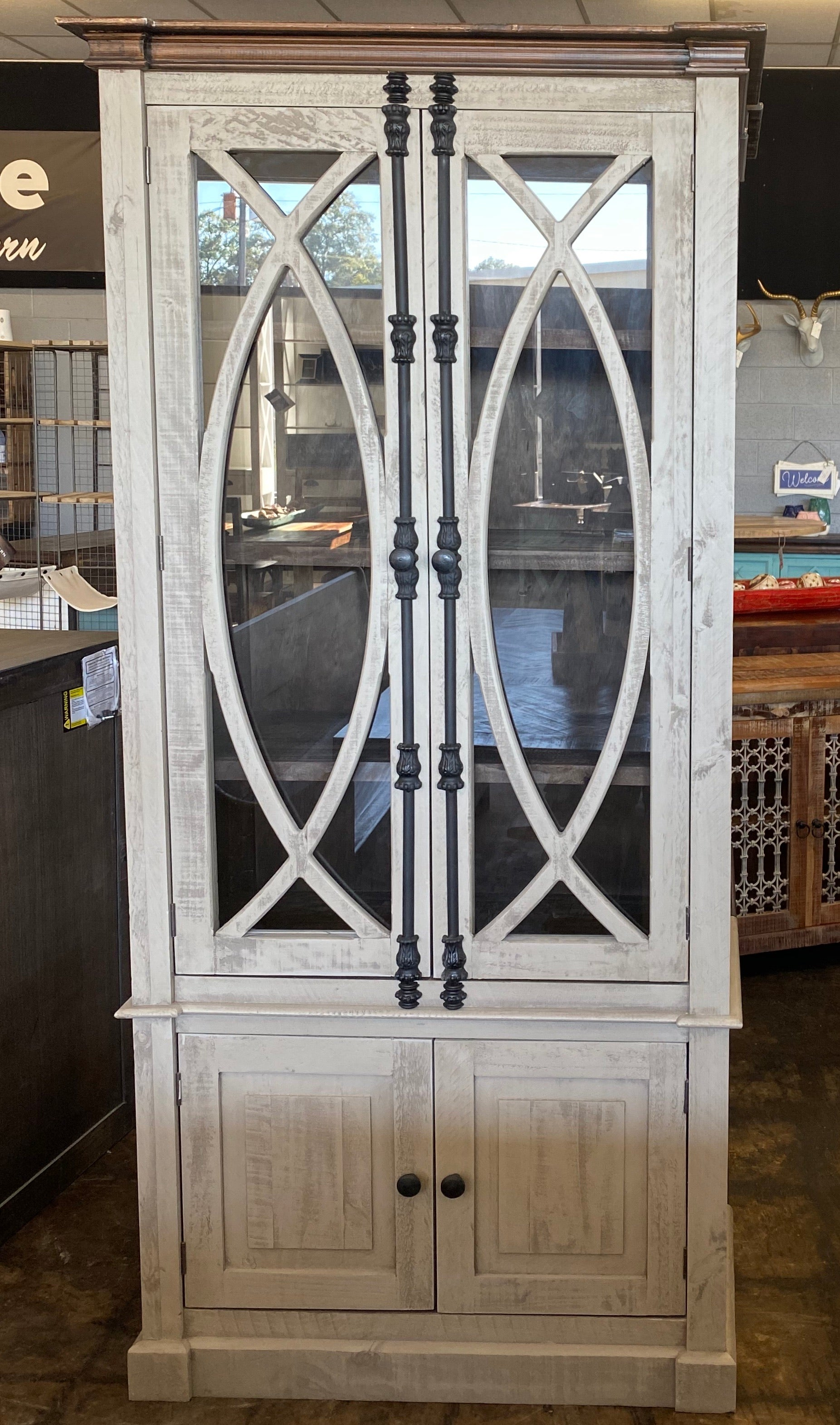 Cameo Antique Gray Display Cabinet