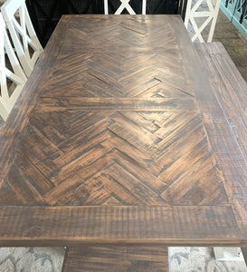 Herringbone White X back 7 piece Dining Table Set