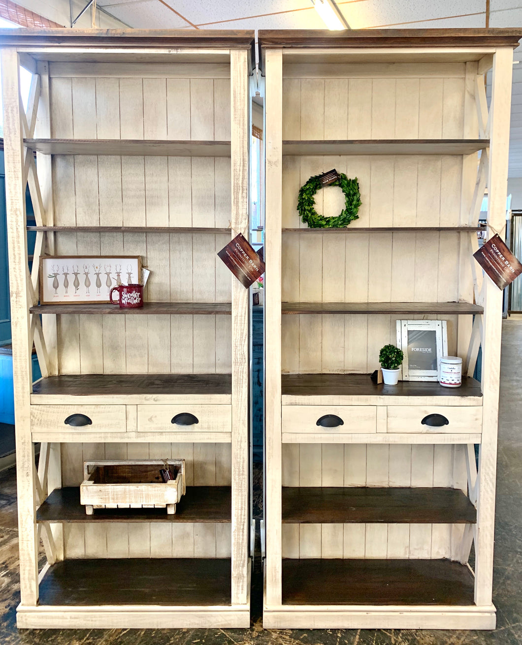 Whitney Antique Cream Bookshelf