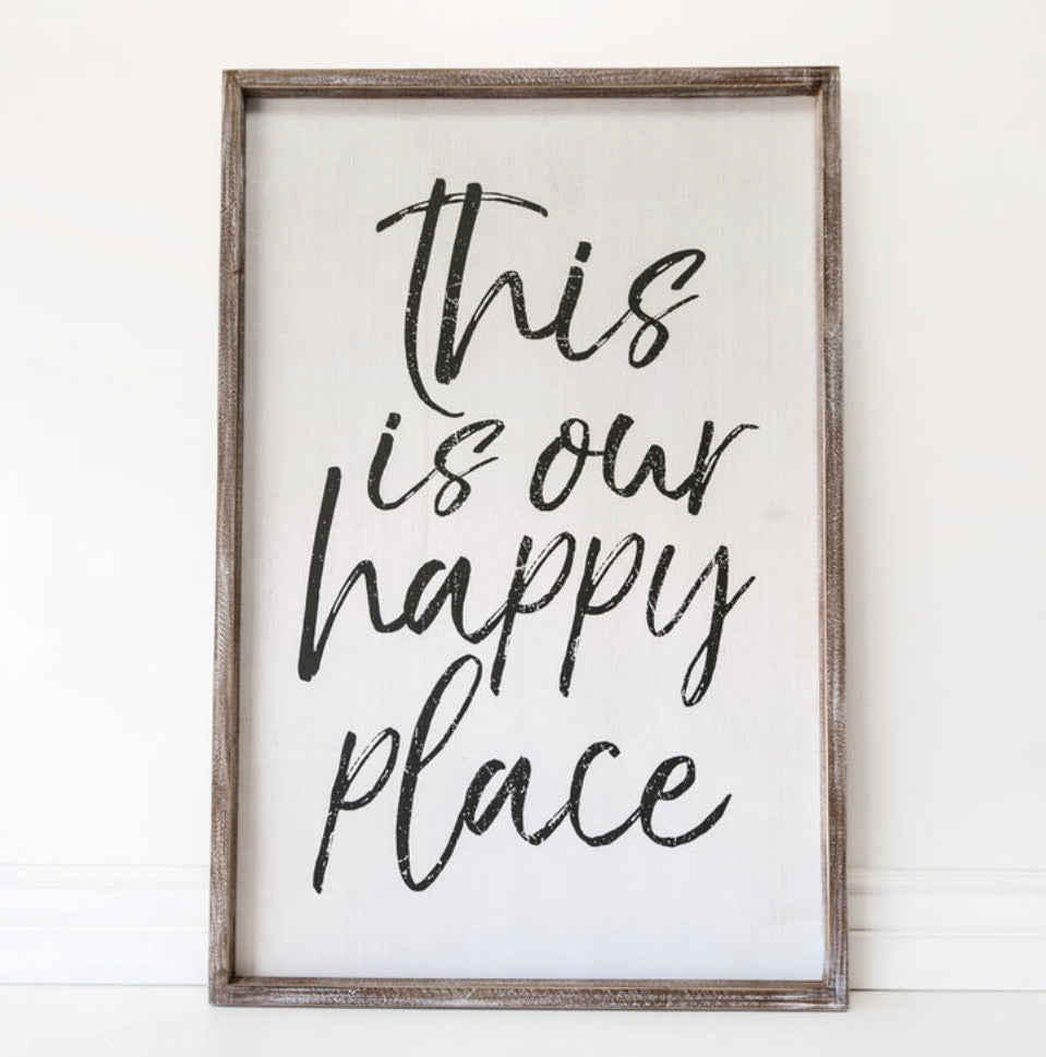 Happy Place large wood sign