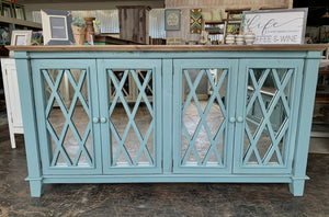 Laurel Beach Blue Mirror Front Console Cabinet
