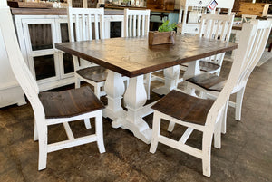 Herringbone 6 foot White 7 Piece Dining Table Set