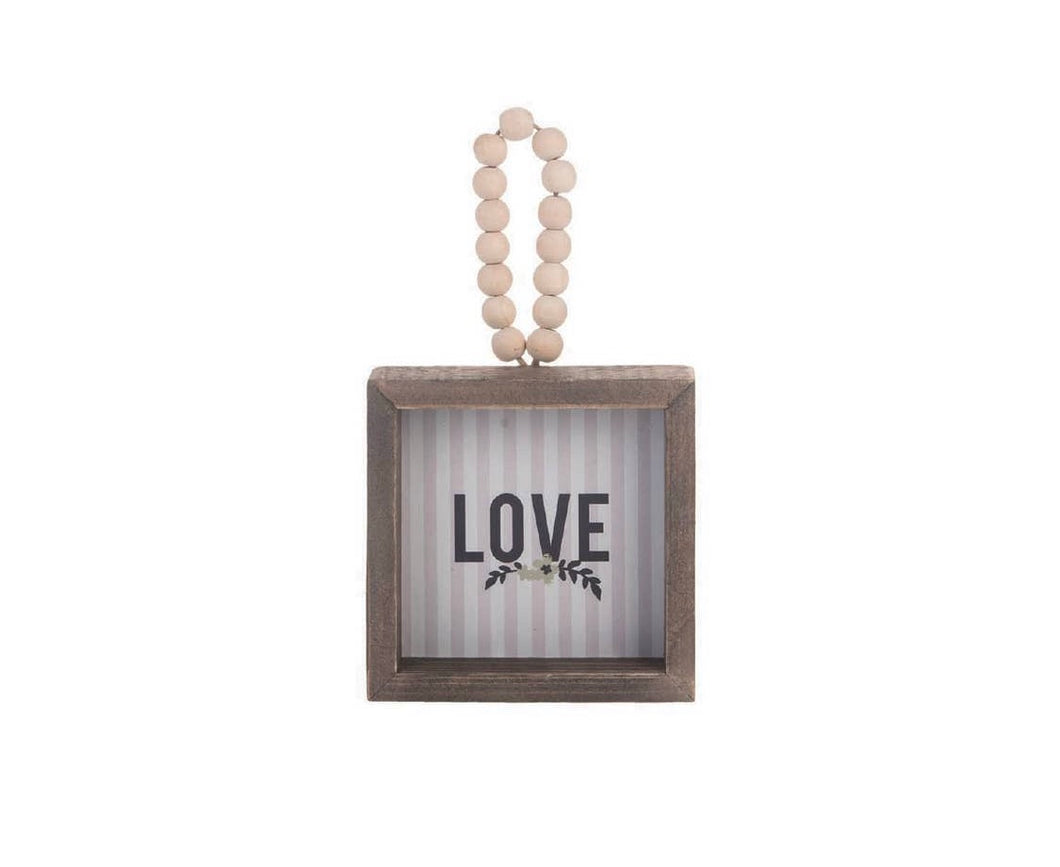 Love Beaded Small Wood Sign