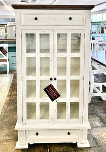 Thomas Distressed White Display Cabinet