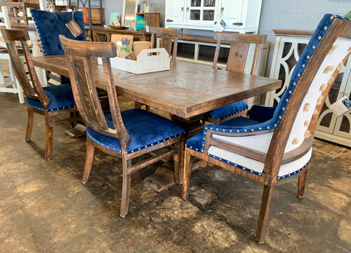 Herringbone Dark Blue Velvet 7 piece Dining Table Set