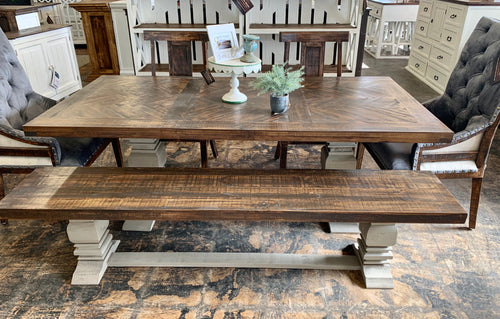 Herringbone Deconstructed Gray Velvet 6 piece Dining Table Set