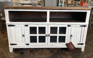 Emily Distressed White TV Stand