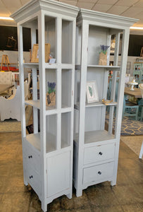 Blythe Distressed Gray Narrow Bookcase