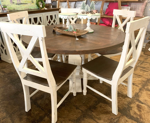 Joshua 6 Piece White X back Dining Set