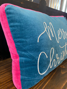 Merry Christmas Blue Pillow