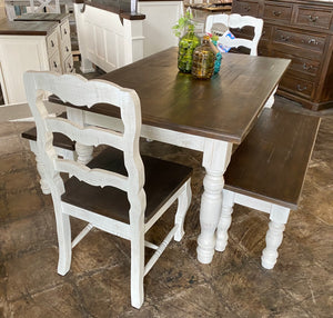 Madeleine Weathered White 5 piece Dining Table Set