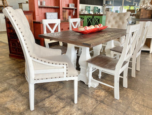White & Weathered Deconstructed Herringbone 6 foot Dining Table Set