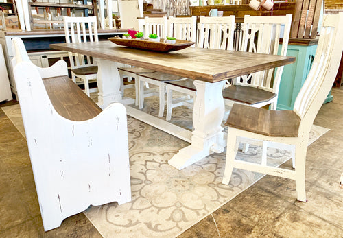 Banks 8 foot White Church Pew Dining Table Set