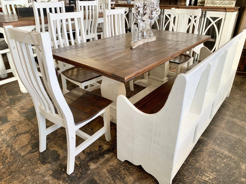 Banks 6 piece White Church Pew Table Set