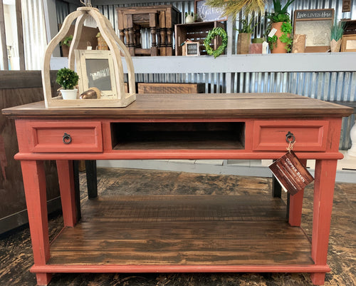 Emily Distressed Red Console Table