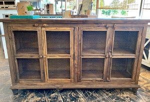 Carson Warm Brown Wire Front Cabinet